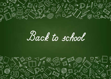 Back to School chalkboard wallpaper. Education drawn symbols pattern. School supplies icons doodle Learning subjects chalk drawn doodle icons background.