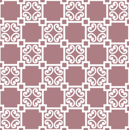 Abstract floral asian ornament. Seamless geometric pattern with swirl line ornament in oriental style. Illustration