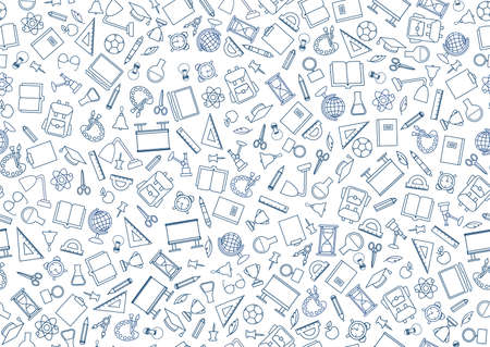 School education seamless pattern. Education symbols sketch backdrop with school supplies. Back to school icons doodle line art notebook background. Illustration