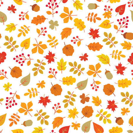 Autumn leaves seamless pattern. Leaf icon set in ornamental tile background. Fall nature backdrop in line art style. Illustration