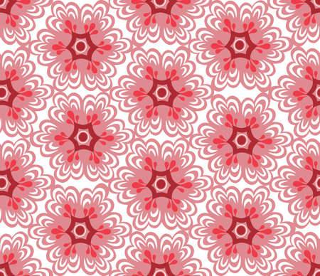 Floral oriental seamless ornament. Ornamental tile pattern with drawn flowers in retro asian style