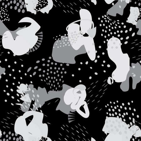 Abstract chaotic blots modern pattern. Seamless geometrical backdrop with dots and abstract shapes of splashes of paint