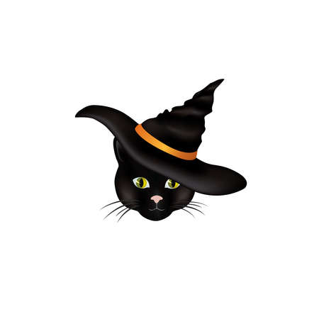 Cat in hat. Black cat looking at camera in Halloween hat. Funny holiday cartoon for greeting card Illustration