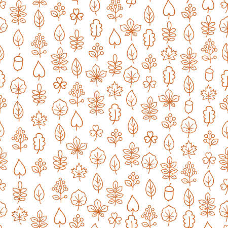 Autumn leaves seamless pattern. Leaf icon set in ornamental tile background. Fall nature backdrop. 向量圖像