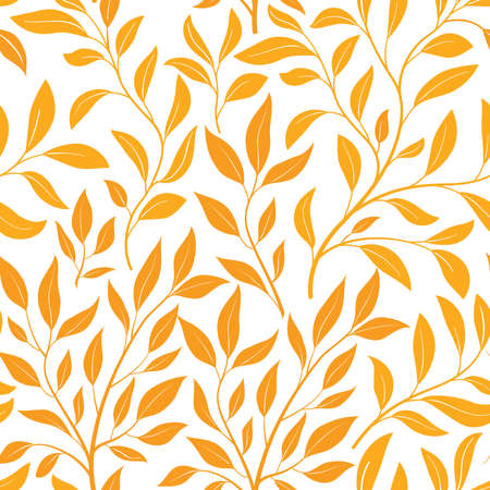 Autumn leaves seamless pattern. Leaf icon set in ornamental tile floral background. Fall nature backdrop.