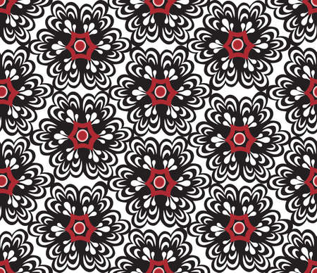 Floral oriental seamless ornament. Ornamental tile pattern with flower bloom in traditional eastern asian style