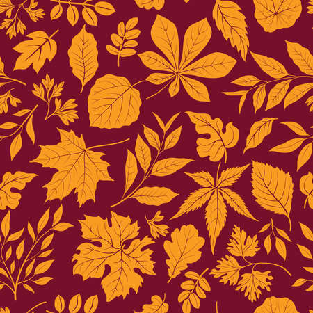 Autumn leaves stylish background. Fall seamless pattern with hand drawn leaves. Seasonal nature backdrop.