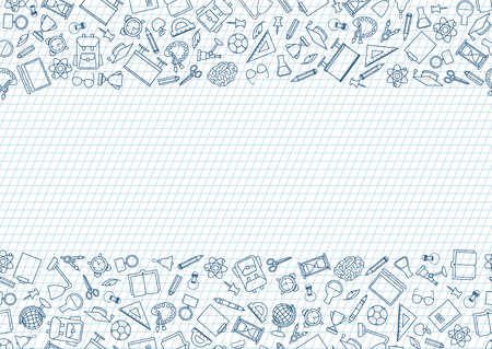 Back to School seamless chalk drawn icon pattern. School supplies doodle icons border. Education symbols line art background.