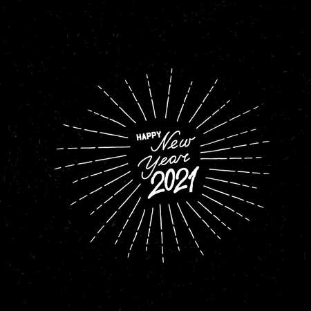 Happy New Year black noise background. Winter holiday grunge greeting card design. Happy Winter Holiday Wallpaper. Doodle Greeting Card with handwritten Lettering HAPPY NEW YEAR 2021 向量圖像