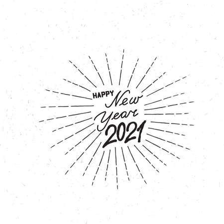 Happy New Year white noised background. Winter holiday grunge greeting card design. Happy Winter Holiday Wallpaper. Doodle Greeting Card with handwritten Lettering HAPPY NEW YEAR 2021 向量圖像