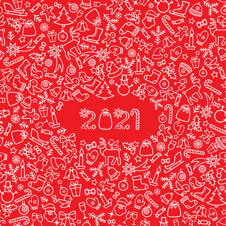 Happy New Year 2021. Snow winter holiday red background. Christmas greeting card with lettering.