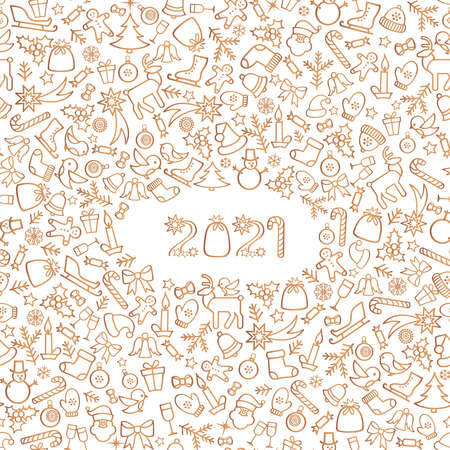 Happy New Year 2021. Snow winter holiday white background. Christmas greeting card with lettering.