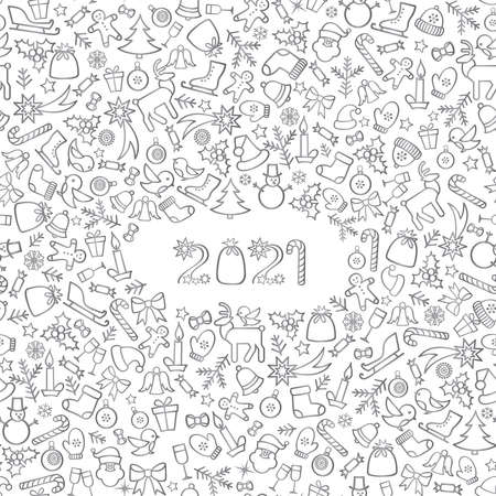 Happy New Year 2021. Snow winter holiday silver background. Christmas greeting card with lettering. 向量圖像