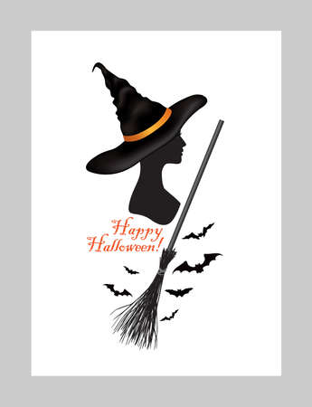 Halloween holiday greeting card with lettering Happy Halloween and witch woman portrait in hat and bats silhouettes over white background