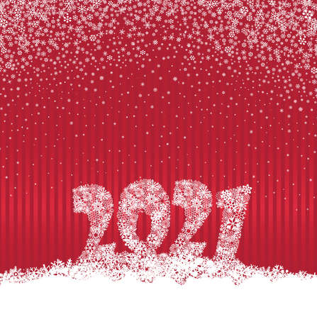 Happy New Year red festive curtain background and snow. Winter holiday greeting card design with snowfall. Happy Winter Holiday Wallpaper. Greeting Card with Lettering 2021 done from snowflakes