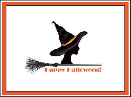 Halloween holiday greeting card with lettering Happy Halloween and witch in hat and bats silhouettes over white background