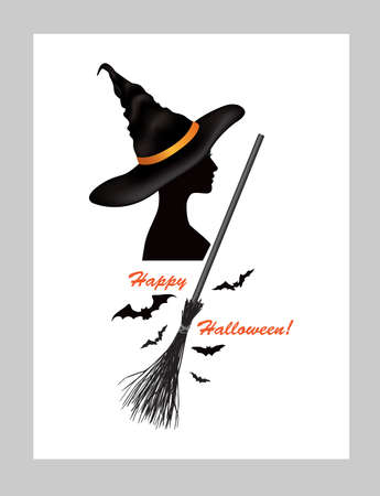 Halloween holiday greeting card with lettering Happy Halloween and witch woman profile in hat and bats silhouettes over white background 向量圖像