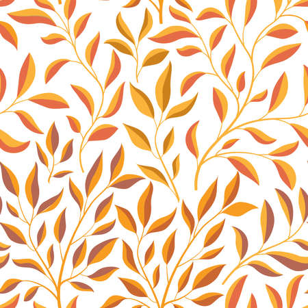 Autumn leaves branch seamless pattern. Fall leaf floral ornamental tile background. Fall nature backdrop