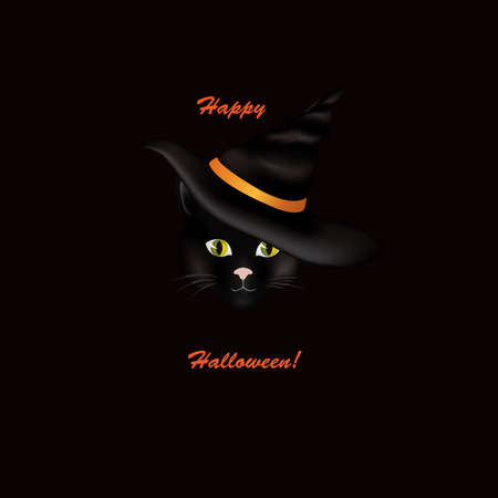 Cat in hat. Black cat looking at camera in Halloween hat with lettering Happy Halloween. Funny holiday illustration for greeting card background