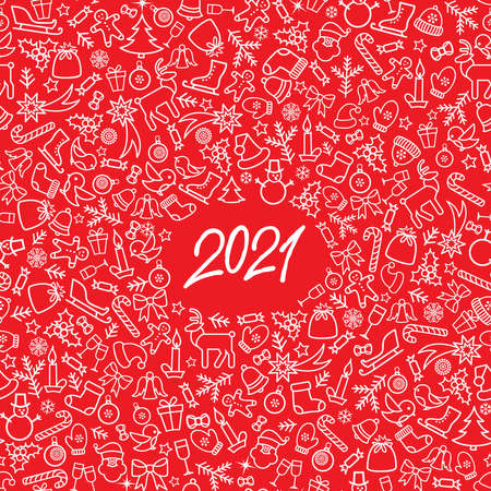 Christmas icon holiday background with numbers 2021. Happy New Year wallpaper. Winter holiday grunge greeting card design. Happy Winter Holiday Doodle Greeting Card with handwritten Lettering 2021