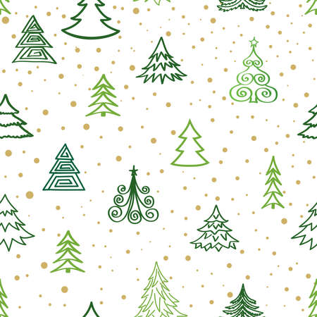 Christmas winter forest snow seamless pattern with holiday icons and New Year Tree, Snow. Happy Winter Holiday Snowfall Wallpaper with Nature Decor elements. Fir Tree branch and snowflakes