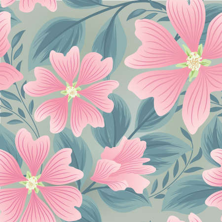 Flower seamless summer pattern. Floral garden tile background. Holiday stylish wallpaper with flowers 向量圖像