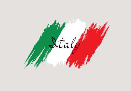 Italian flag with handwritten lettering Italy brush stroked national country design element Vektorgrafik