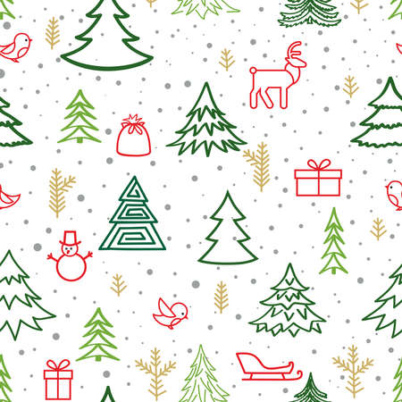 Christmas winter forest snow seamless pattern with holiday icons and New Year Tree, Snow, Deer, Gift, Birds. Happy Winter Holiday Snowfall Wallpaper with Nature Decor elements. Fir Tree branch and snowflakes