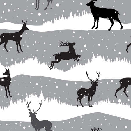 Snow winter landscape with deers. Illustration of winter forest skyline seamless pattern with snowfall. Snow winter holiday background.