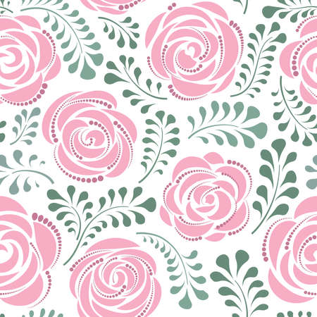 Floral seamless pattern with flower rose. Abstract swirl line bloom background. Petal tiled wallpaper 向量圖像