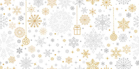 Christmas seamless pattern with snow winter motifs. Snowflakes and circles ornaments. Holiday icons and noel decor. Beautiful lacy crystal xmas white winter background