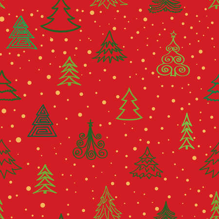 Christmas tree snow winter forest pattern. Holiday icons and New Year Tree xmas background
