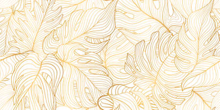 Floral seamless pattern with tropical leaves. Nature lush background. Flourish garden texture with line art leaves. Artistic drawn background