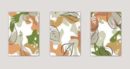 Set of autumn floral background design. Abstract organic shape fall nature graphic items. Trendy geometric forms, textured stroked floral decor elements for seasonal nature design.