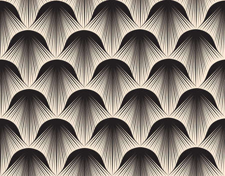 Abstract geometric pattern with stripe lines. Artistic fan shape floral ornamental tile background. 向量圖像