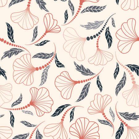 Floral seamless pattern. Flower artistic drawn background. Flourish ornamental garden 向量圖像