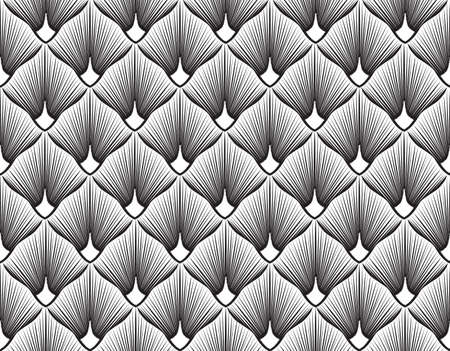 Abstract geometric pattern with stripe lines. Artistic fan shape floral ornamenal tile background. Black and white texture.