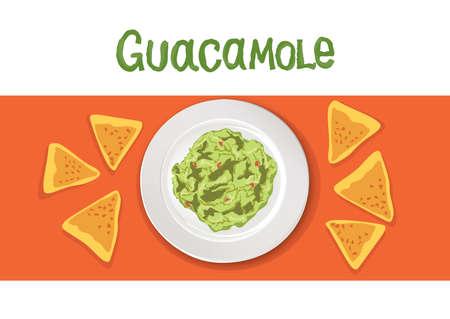 Avocado Guacamole recipe Ingredients. Vegetable and spices for cook Guacamole - tomato, avocado, lime, garlic, pepper, beagle, coriander, salad. mexican cook book vector illustration