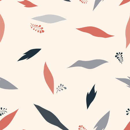 Floral dotted seamless pattern with  leaves. Fall nature ornamental drawn texture. Flourish garden abstract backdrop with chaotic dots. Hand drawn dotted background for fabric, gift wrap, wall art design