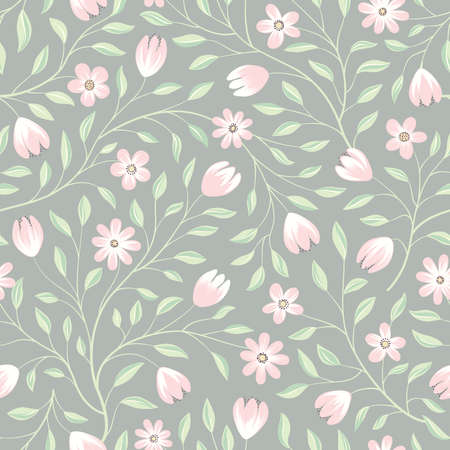 Floral seamless pattern. Flower background. Floral seamless texture with pastel color gentle flowers. Flourish tiled white spring wallpaper 向量圖像