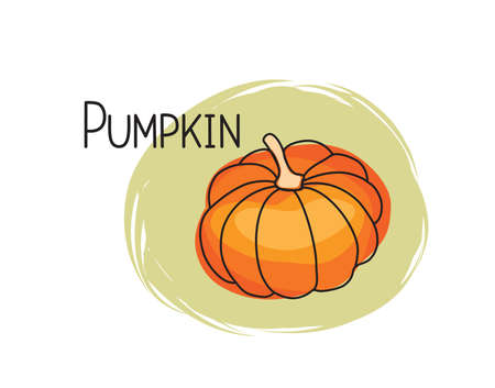 Pumpkin icon. Full fruit pumpkin isolated on white background with lettering Pumpkin. Vegetable stylish drawn symbol Pumpkin