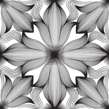 Abstract seamless floral linear pattern. Arabic line ornament with flower shapes. Floral orient tile pattern with black lines. Asian ornament. Swirl geometric doodle texture
