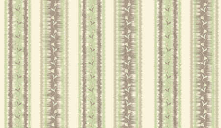 Floral stripy seamless textile pattern. Flourish tiled oriental ethnic background. Abstract stripe ornament with lines and fantastic flowers and leaves.
