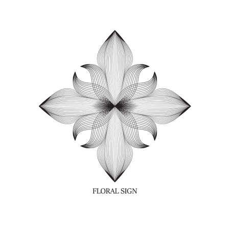 Abstract elegant flower  icon line art design. Universal creative premium floral drawn symbol. 向量圖像
