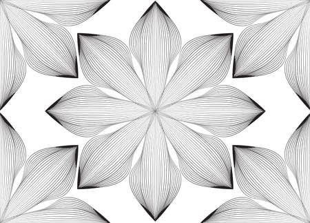 Abstract seamless pattern. Arabic line ornament with geometric shapes. fFloral orient tile pattern with black and white asian line ornament.