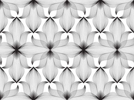 Abstract seamless floral line pattern. Arabic line ornament with flower shapes. Floral orient tile pattern with black lines. Asian ornament. Swirl geometric doodle texture