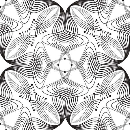 Abstract floral seamless pattern with black line oriental ornament Swirl geometric doodle asian fabric texture. Ornamental wave optical effect muslim retro background.
