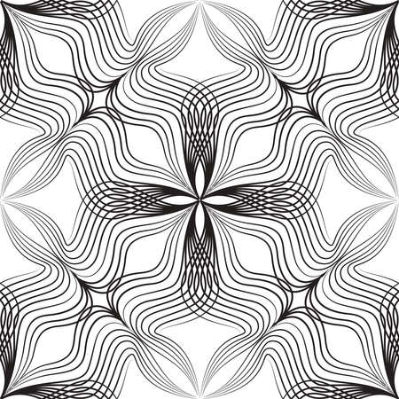 Abstract asian style arabesque seamless pattern. Arabic line ornament with floral shapes.