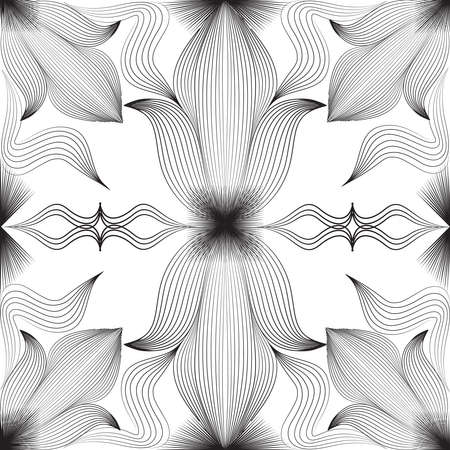 Abstract floral arabesque seamless pattern. Arabic line ornament with flower shapes. Floral orient tile pattern with swirl black lines. Ornament with stripy floral shapes for fabric, background wrapping paper design.