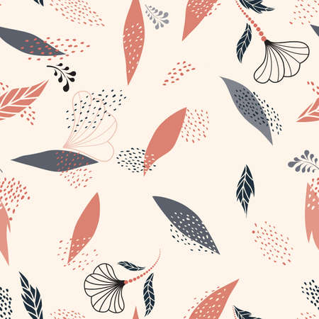 Floral dotted seamless pattern with autumnal leaves and flowers. Fall nature ornamental drawn texture. Flourish garden abstract backdrop with chaotic dots. Hand drawn dotted background for fabric, gift wrap, wall art design